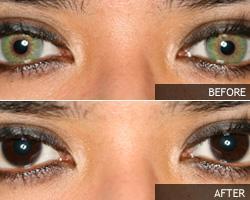 Vihreän silmän muuttaminen ruskeaksi.